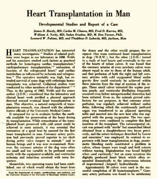 Heart Transplant in Man